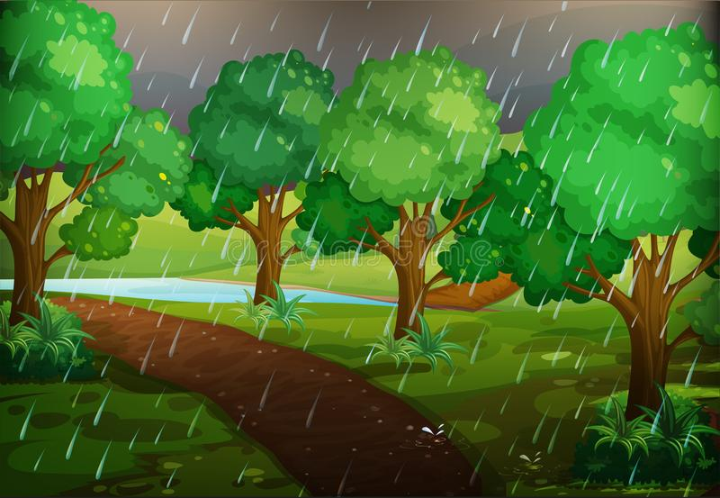Escena del bosque en día lluvioso ilustración del vector