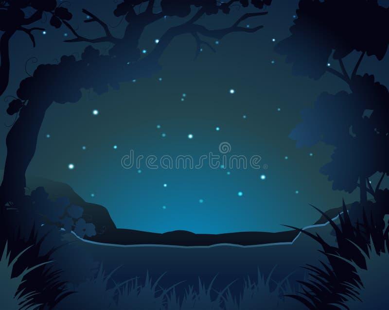 Escena del bosque en la noche libre illustration