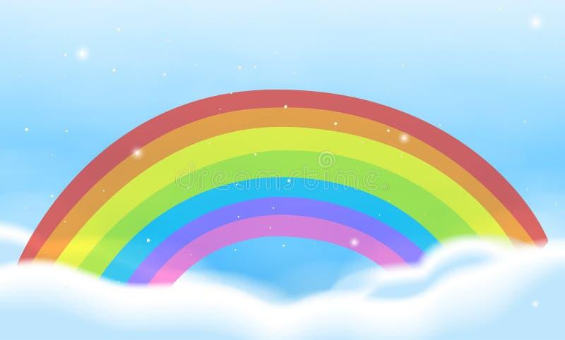 Escena del cielo con el arco iris brillante libre illustration