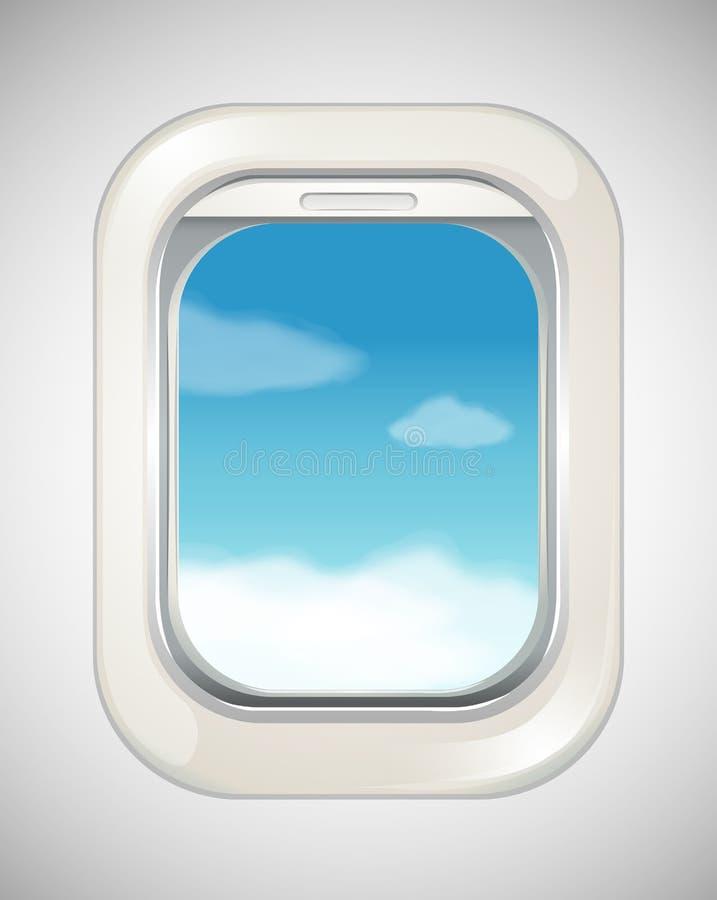 Escena del cielo de la ventana del aeroplano ilustración del vector