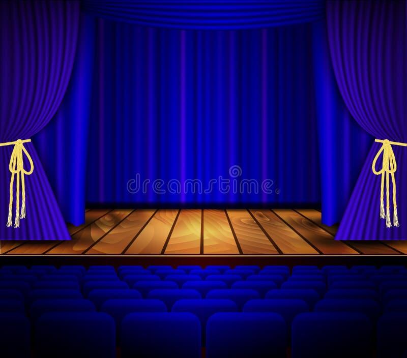 Escena del cine o del teatro con una cortina libre illustration