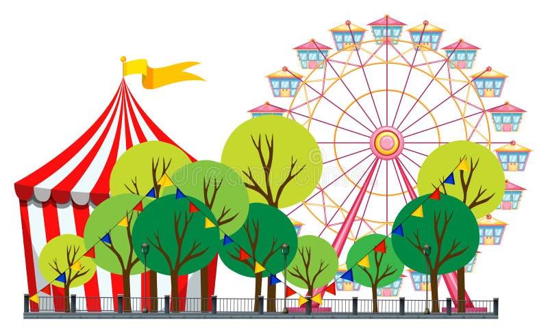 Escena del circo con la tienda y la noria ilustración del vector