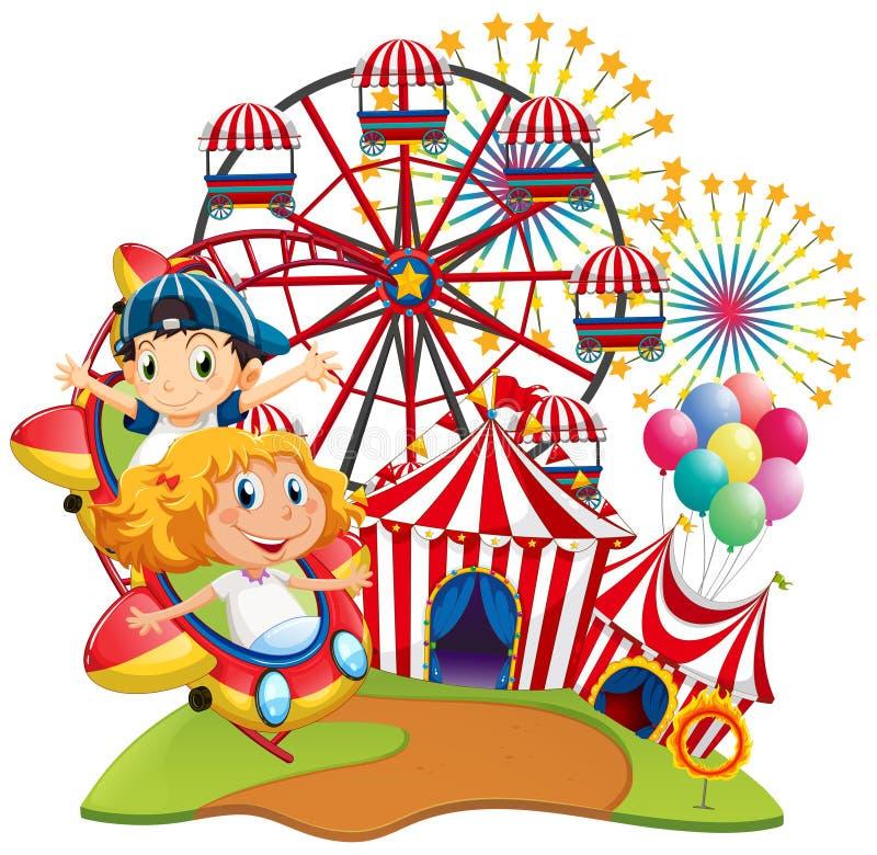 Escena del circo con los niños en el paseo ilustración del vector