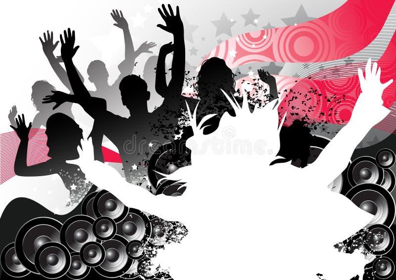 Escena del club del partido stock de ilustración