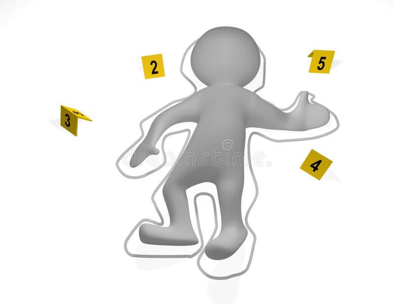 Escena del crimen con un cadáver del hombre 3d libre illustration
