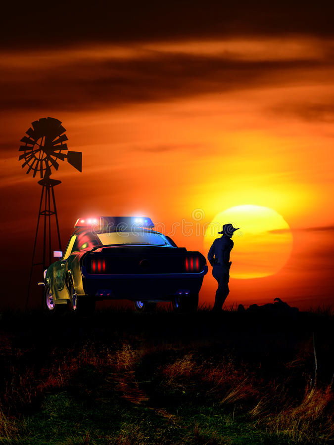 Escena del crimen en la puesta del sol libre illustration