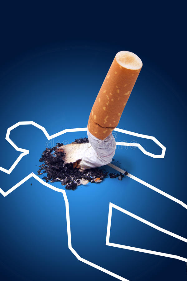 Escena del crimen - hombre matado por un cigarrillo imagenes de archivo