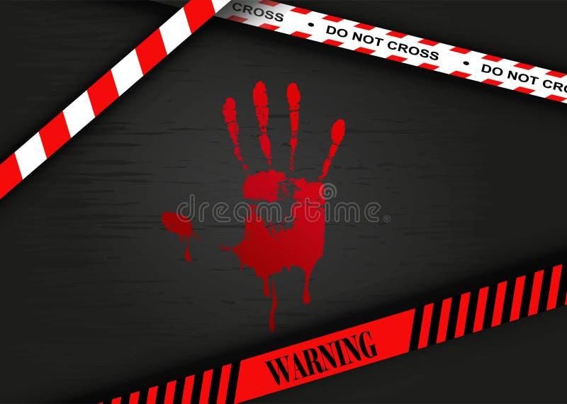 Escena del crimen - impresión sangrienta de la mano stock de ilustración