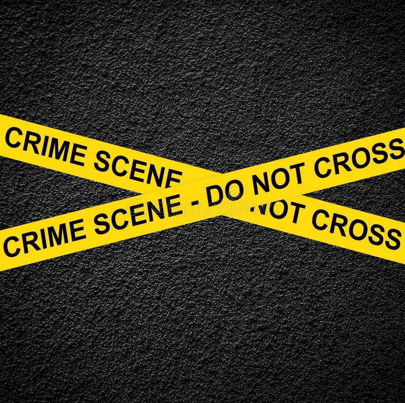 ESCENA DEL CRIMEN - NO CRUCE contra la pared negra imagen de archivo