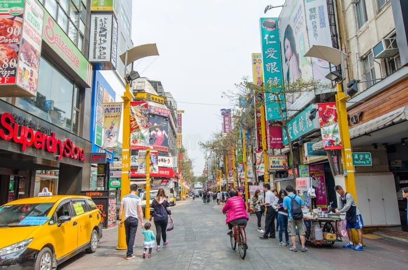 Escena del día del Ximending, Taiwán imagenes de archivo