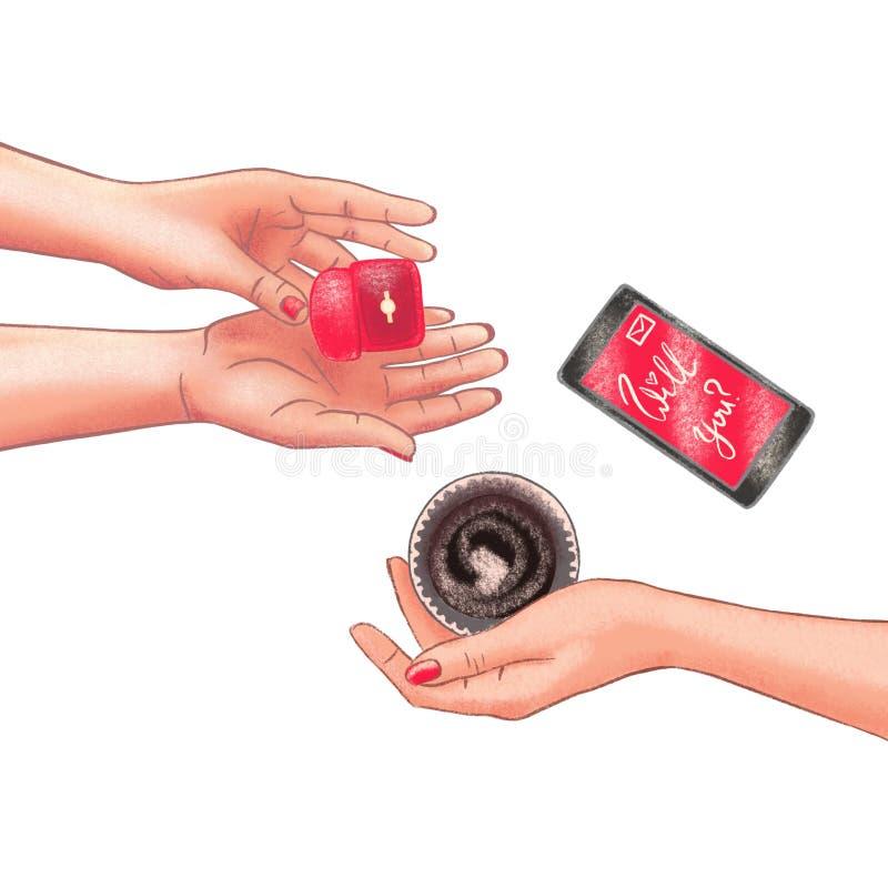 Escena del d?a oferta, boda o del ` rom?ntica s de la tarjeta del d?a de San Valent?n Pares alegres libre illustration