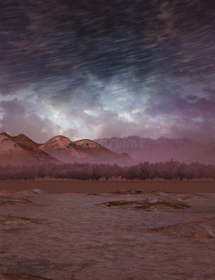 Escena del desierto con el cielo de la fantasía ilustración del vector