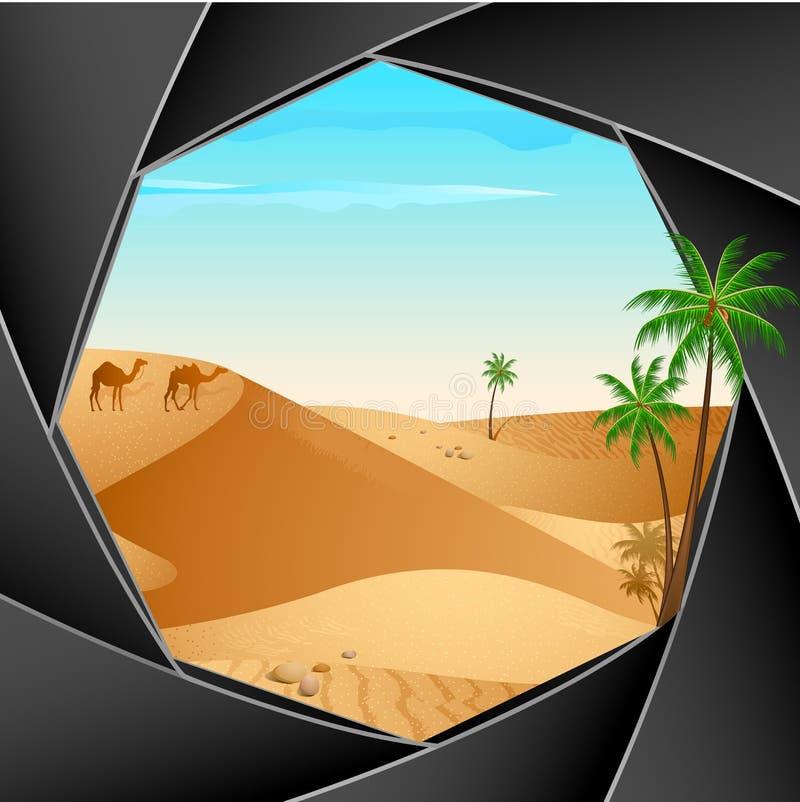 Escena del desierto a través de la cámara stock de ilustración