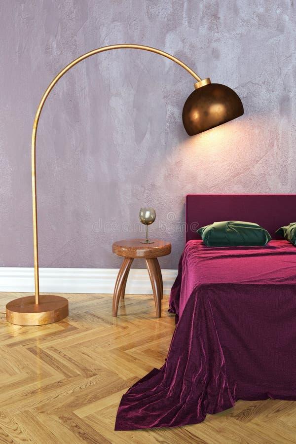Escena del dormitorio, representación 3D stock de ilustración