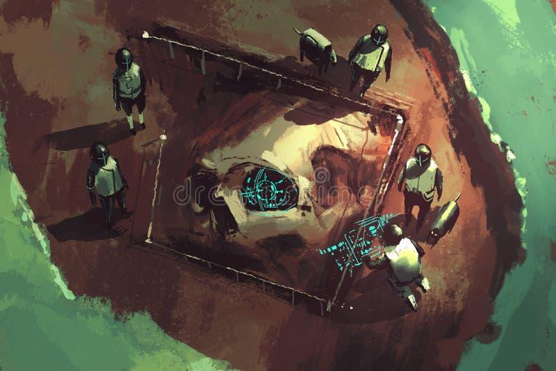 escena del empuje de la arqueología libre illustration