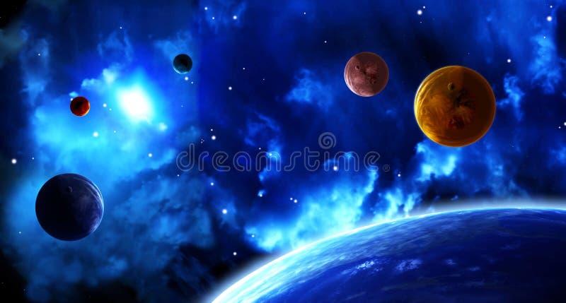 Escena del espacio con los planetas y la nebulosa stock de ilustración