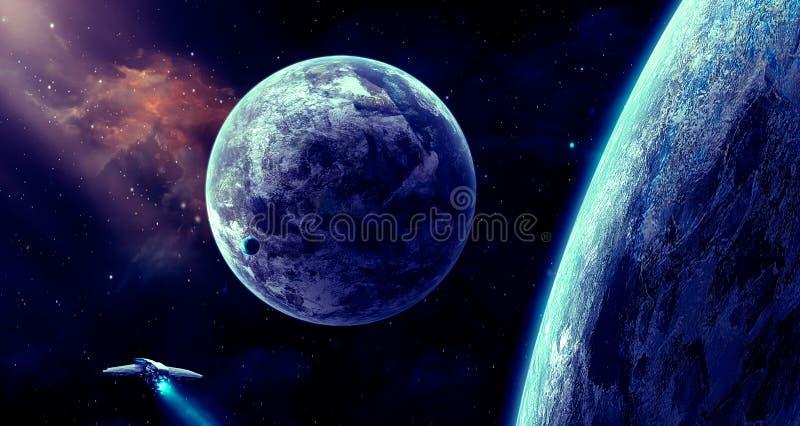 Escena del espacio Nebulosa anaranjada con el planeta y la nave espacial Elementos f libre illustration