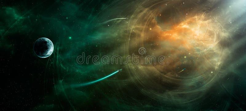 Escena del espacio Nebulosa anaranjada y verde con el planeta y las naves espaciales ilustración del vector