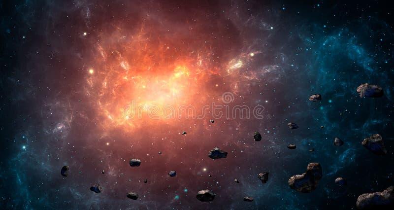 Escena del espacio Nebulosa azul y anaranjada con los asteroides Piel de los elementos ilustración del vector
