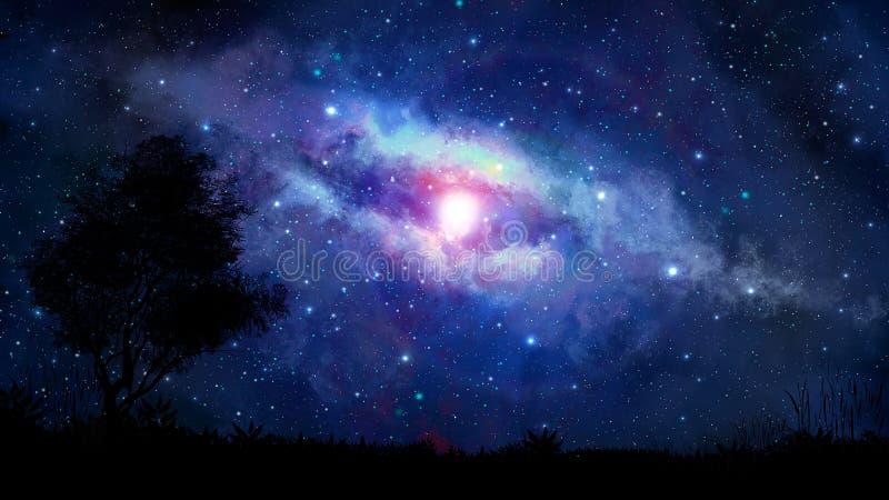 Escena del espacio Vía láctea azul con la silueta del árbol Furni de los elementos ilustración del vector