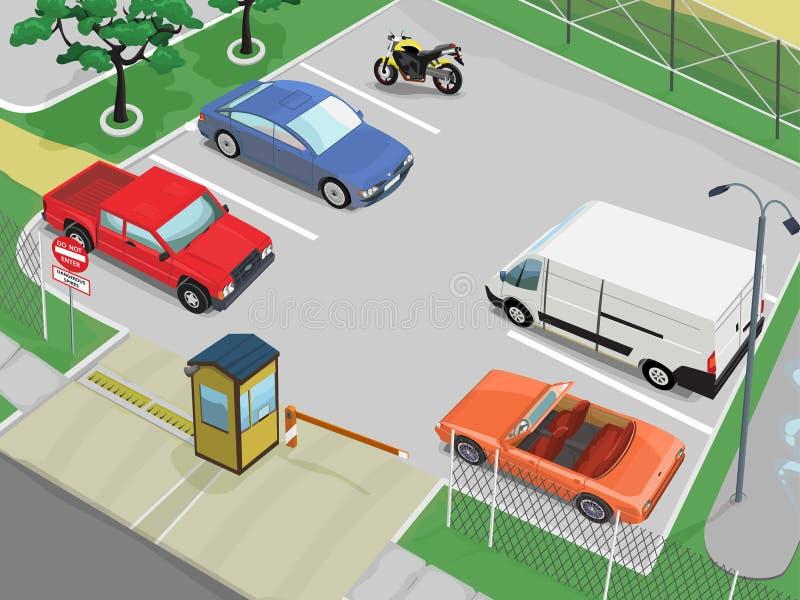 Escena del estacionamiento stock de ilustración