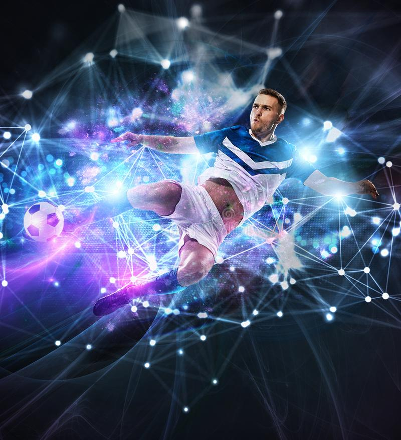 Escena del fútbol con el jugador de fútbol delante de un fondo digital futurista fotografía de archivo libre de regalías