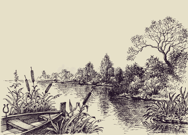 Escena del flujo del río ilustración del vector