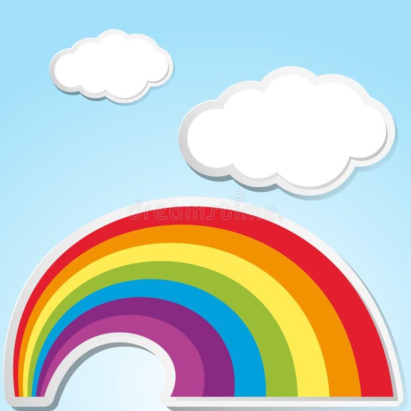 Escena del fondo con el arco iris en el cielo libre illustration