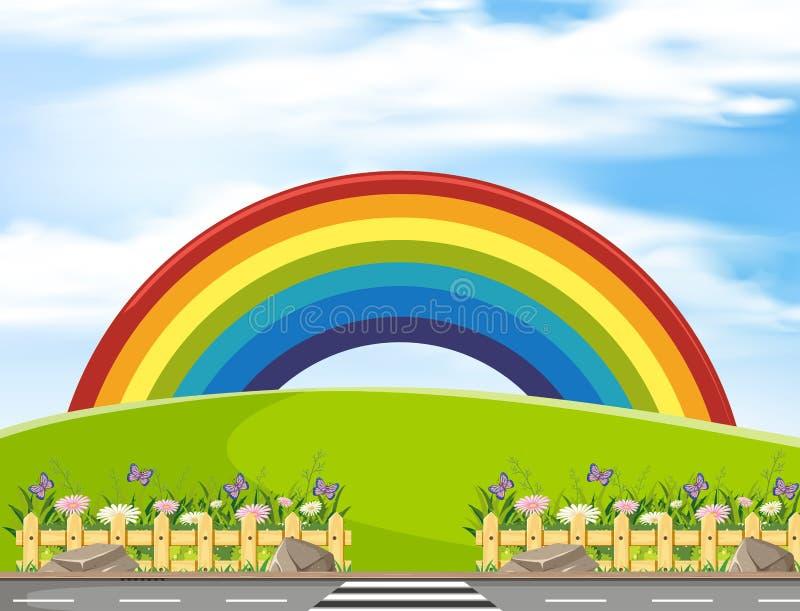 Escena del fondo con el arco iris en el parque libre illustration