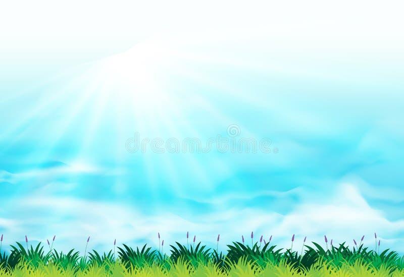 Escena del fondo con el cielo azul y la hierba verde ilustración del vector