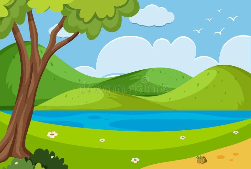 Escena del fondo con el río en el parque ilustración del vector
