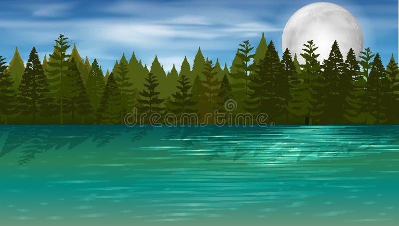 Escena del fondo con los árboles de pino por el lago ilustración del vector