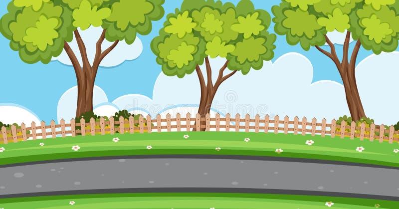 Escena del fondo con los árboles a lo largo del camino stock de ilustración