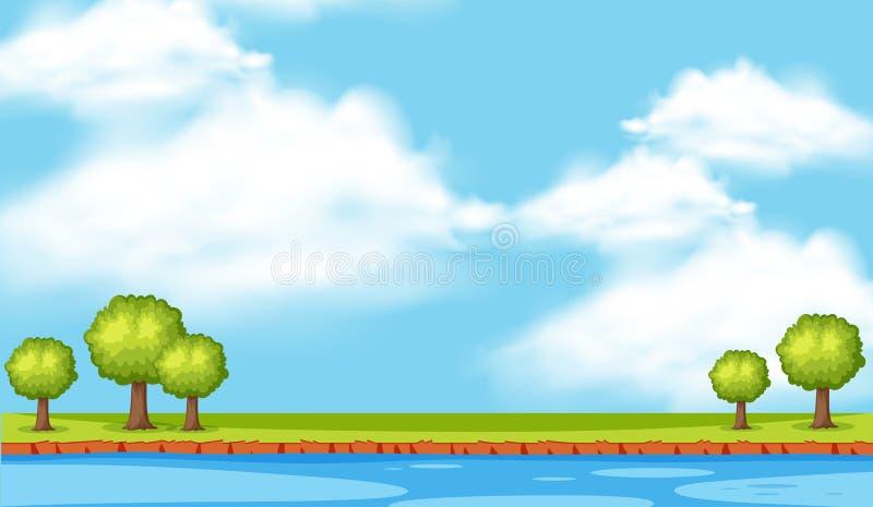Escena del fondo con los árboles a lo largo del río stock de ilustración
