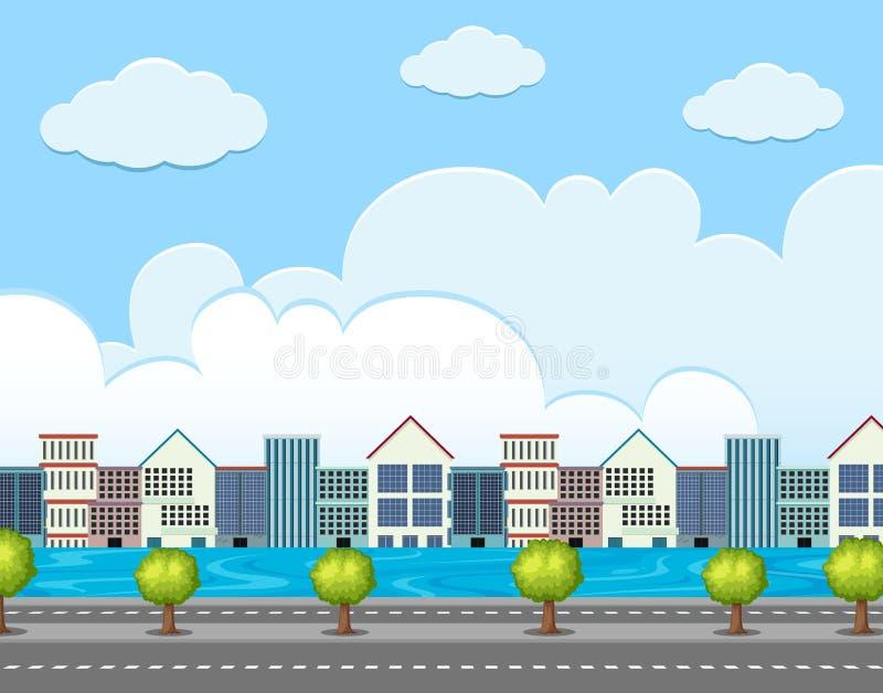 Escena del fondo con los edificios a lo largo del camino stock de ilustración