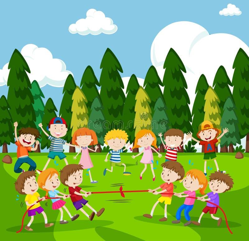 Escena del fondo con los niños que juegan esfuerzo supremo stock de ilustración