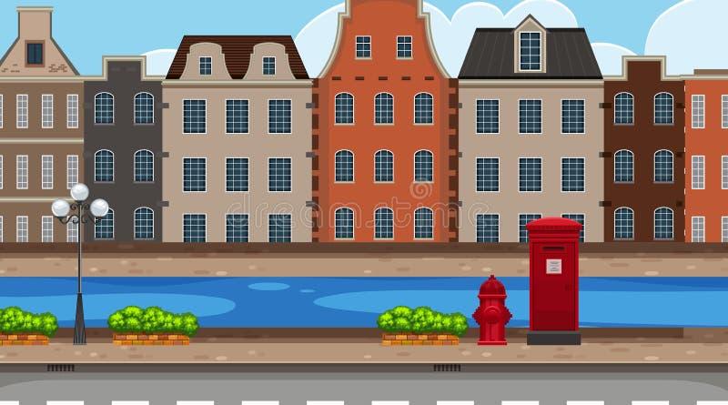Escena del fondo de la calle de la ciudad ilustración del vector
