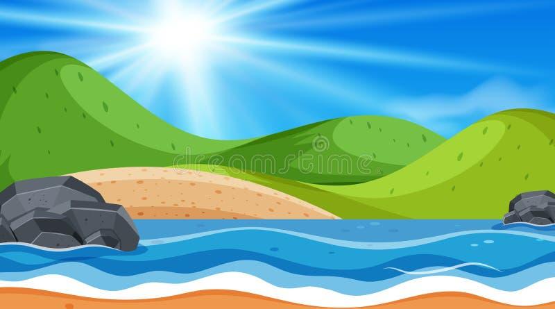 Escena del fondo de la playa del océano ilustración del vector