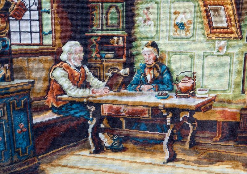 Escena antigua de la tapicería imágenes de archivo libres de regalías