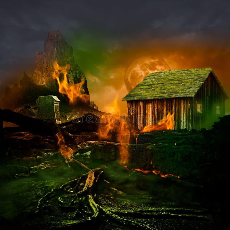 Escena del horror ~ cementerio asustadizo de la montaña con la casa encantada ilustración del vector