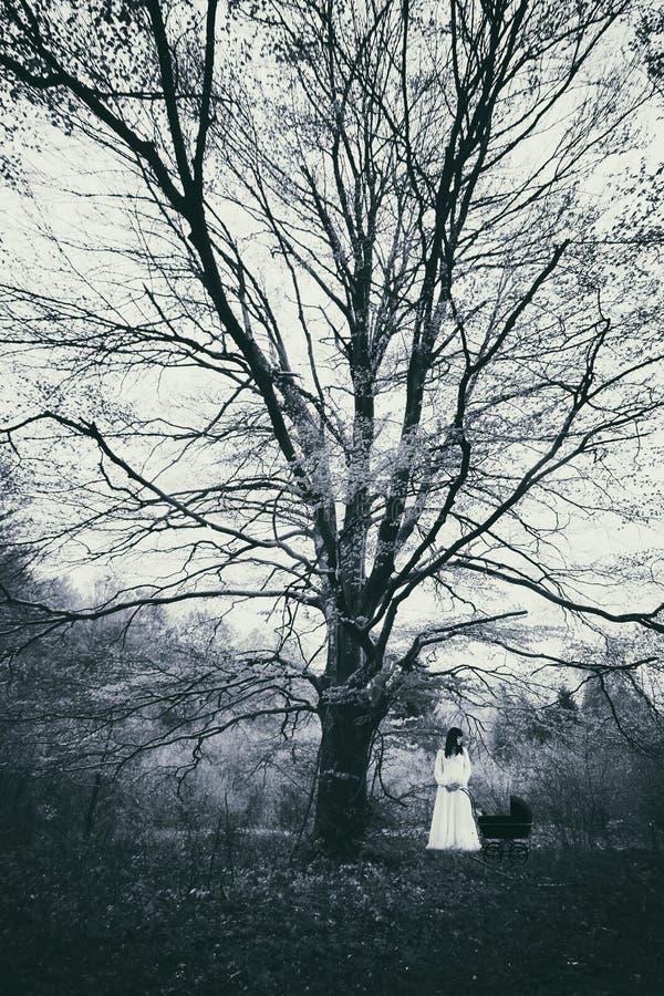 Escena del horror de una mujer asustadiza en el bosque brumoso imagenes de archivo