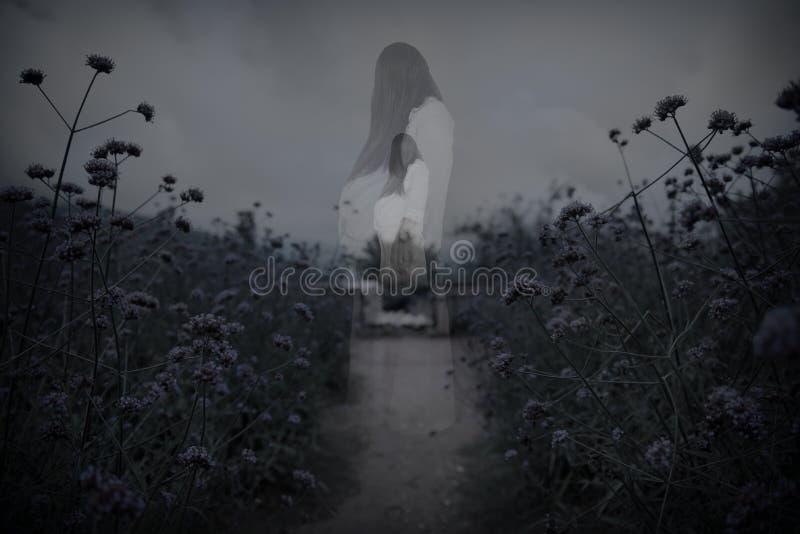 Escena del horror del fantasma asustadizo del ` s de la mujer foto de archivo libre de regalías