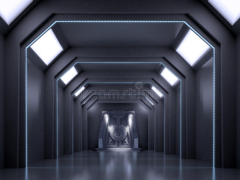 Escena del interior de la ciencia ficción imagen de archivo