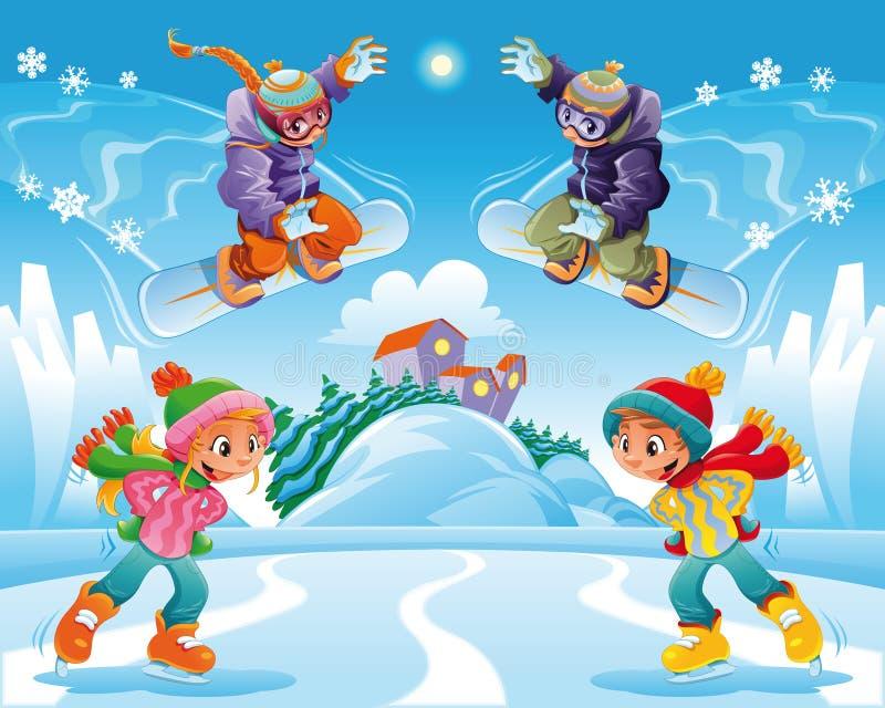 Escena del invierno. stock de ilustración
