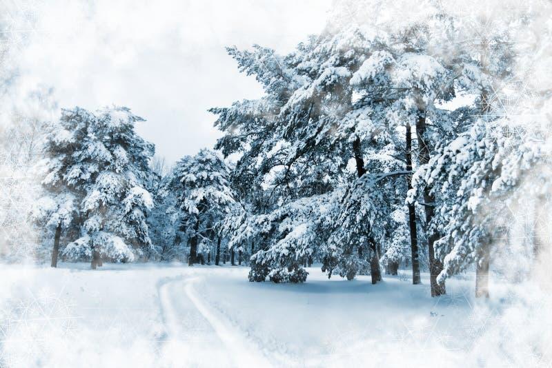 Escena del invierno stock de ilustración