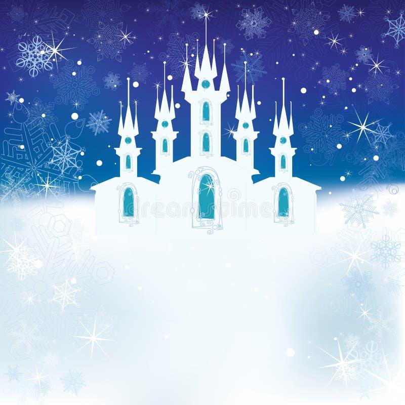 Escena del invierno con el castillo del hielo stock de ilustración