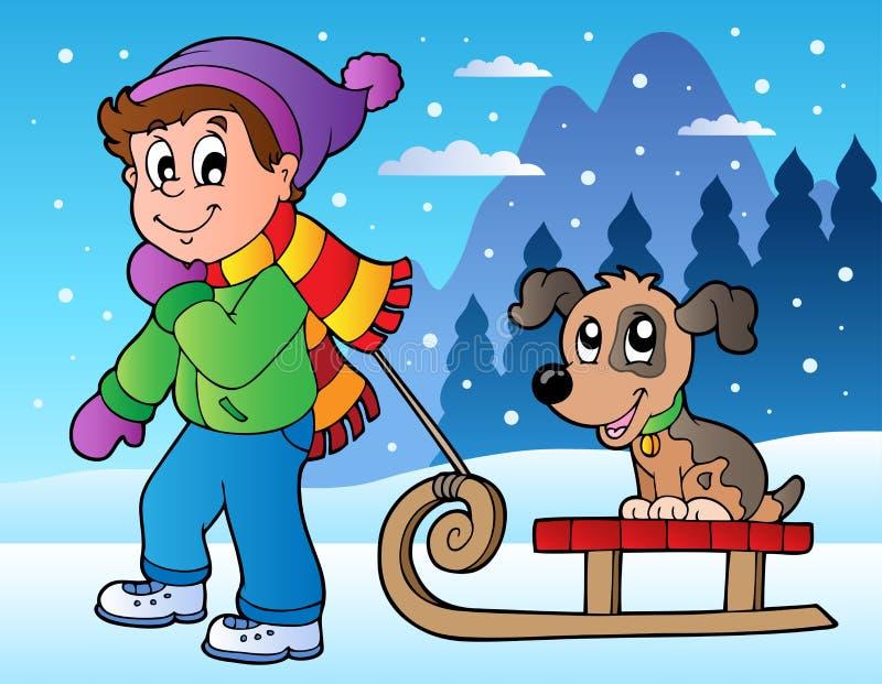 Escena del invierno con el muchacho y el trineo stock de ilustración