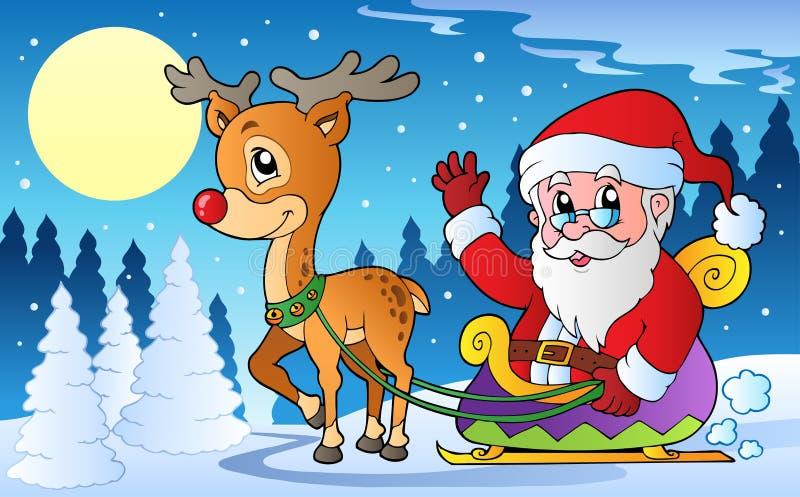 Escena del invierno con el tema 1 de la Navidad stock de ilustración