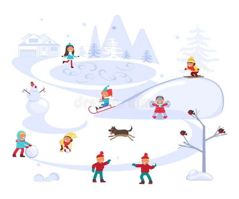 Escena del invierno con los niños libre illustration