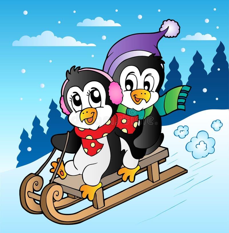 Escena del invierno con los pingüinos sledging stock de ilustración